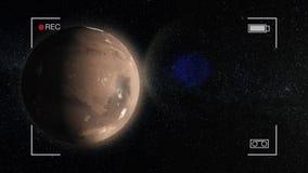 Mars animacja Planeta Mąci w kosmosie, przędzalnianym wokoło swój osi z gwiazdami w tle ilustracji