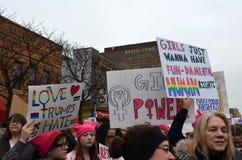 Mars Ann Arbor 2017 för kvinna` s Arkivbild