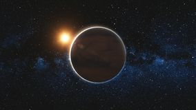 Mars approach, rotate in black Universe of stars. Mars in sun beams from open space. Red Planet approach, rotate, spinning in black Universe of stars. Abstract stock footage