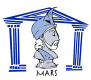 Mars,Ares, Greek God Cartoon. Mars,ares, antique greek god, icon Stock Photo