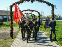Mars av det odödliga regementet i den Kaluga regionen Ryssland på 9 kan 2016 Royaltyfri Fotografi