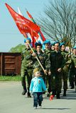 Mars av det odödliga regementet i den Kaluga regionen Ryssland på 9 kan 2016 Royaltyfria Foton