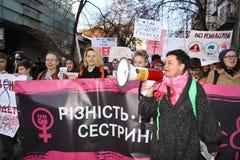 Mars av solidaritet för kvinna` s Arkivbilder