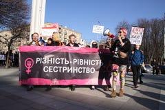 Mars av solidaritet för kvinna` s Arkivfoton