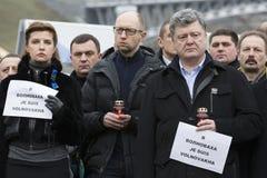 Mars av solidaritet mot terrorism på Kiev Arkivbild