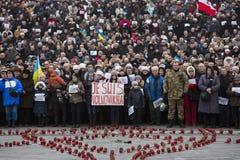 Mars av solidaritet mot terrorism på Kiev Arkivfoton