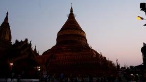 3 mars 2016 Bagan, Myanmar Pagoda de Shwezigon de Bagan dans des personnes de Myanmar égalisant et le mouvement de nuit - ordre d banque de vidéos
