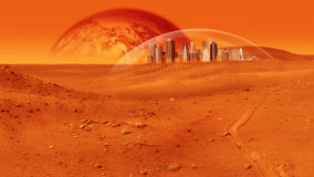 Mars Base. Fantasy image of city under a glass dome on red desert planet. The image is saturated red, and there are no people visible. Horizontally framed shot Royalty Free Stock Photos
