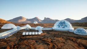 Mars baza, kolonia Wyprawa na obcej planecie widok z lotu ptaka Geo capsyles życie mąci świadczenia 3 d Obrazy Stock
