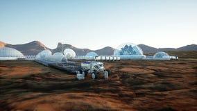 Mars baza, kolonia Wyprawa na obcej planecie widok z lotu ptaka Geo capsyles życie mąci ilustracja wektor