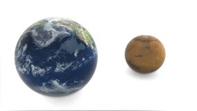 Mars from behind the earth. 3d model of planet Mars and Earth. Earth rotates on a white background stock video footage