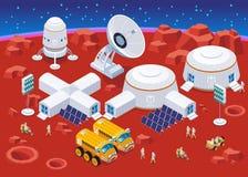Mars-Besiedlungs-isometrische Zusammensetzung vektor abbildung