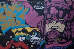 9 mars 2017, Brighton, R-U Art de rue par l'artiste Br de graffitti Images libres de droits