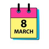 Mars 8 calendar symbolen Datum dag av månaden Helg dag för röd bokstav Kalender för 2017 år Ferier i mars Arkivbild