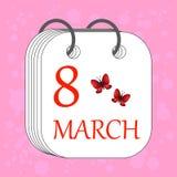 Mars 8 calendar symbolen Internationell dag för kvinna` s Plan stil B Royaltyfri Bild