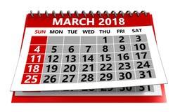 Mars 2018 calendrier photo stock