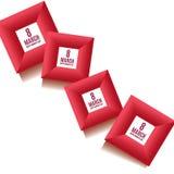 8 mars calibre de fond du jour des femmes dans des couleurs rouges Carte de Greeteng, invitation et calibre de bon Illustration d Photos libres de droits