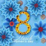 8 mars Carte de voeux florale Photographie stock libre de droits