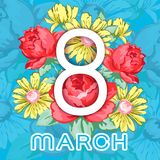 8 mars Carte de voeux heureuse de jour du ` s de femmes, bannière florale de vecteur de vacances Blanc 8 sur un ornement floral t Photo libre de droits