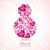 8 mars carte de voeux, jour international du ` s de femmes Numéro huit avec des diamants de coeur du rose 3d, gemmes, bijoux illustration de vecteur
