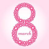 8 mars Carte de voeux pour le jour international du ` s de femmes Vecteur illustration de vecteur