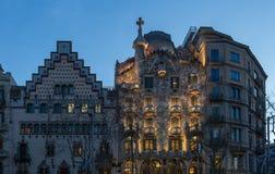 6 MARS 2017: Casa Batlo och CasaAmetller fasader f Barcelona Royaltyfria Foton