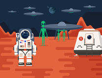 Mars Colonization with aliens Royalty Free Stock Images