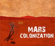 Mars colonization. Astronaut on the planet Stock Photos