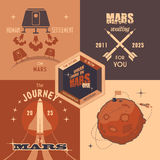 Mars colonization program flat design labels. Flat design elements, vintage labels for Mars colonization program Stock Photos