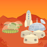 Mars colonization settlement Royalty Free Stock Photo