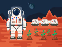 Mars colonization with the trees. Good concept of Mars Colonization mission one. The future home for humans on the red planet.  Flat vector illustration. Trendy Stock Photo