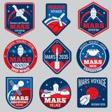 Mars colonization vector retro space logos and labels set. Exploration mars planet logo, emblem travel to mars illustration vector illustration