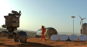 Mars colony. Expedition on alien planet. Life on Mars. 3d Illustration. Stock Image