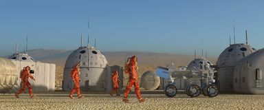 Mars colony. Expedition on alien planet. Life on Mars. 3d Illustration. Stock Photos