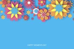 8 mars coloré Jour heureux des femmes s Jour à la mode de la mère s Carte de voeux florale coupée par papier Fleur d'Origami text illustration stock