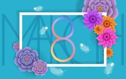 8 mars conception moderne de fond avec des fleurs Carte de voeux élégante de femmes de jour heureux du ` s avec des fleurs de cer Photo stock