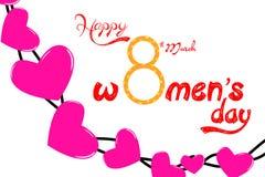 8 mars conception moderne de fond avec le coeur Carte de voeux élégante de femmes de jour heureux du ` s Images stock