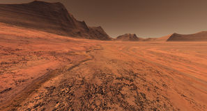 Mars crater plain Royalty Free Stock Photo