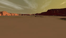 Mars crater plain with distant walls Stock Photos