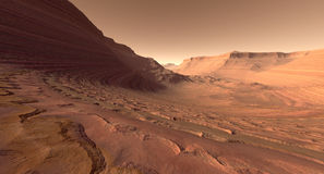 Mars Crater Valley. Crater valley with sculpted buttes on Mars