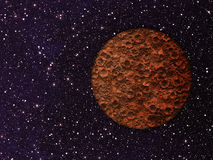 Mars with craters on a space backgrounds Stock Photos