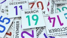 19 mars date sur la feuille de calendrier rendu 3d illustration de vecteur