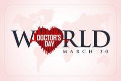 30 mars, Day du monde de docteur carte de voeux de concept, médecins nationaux Day Template calorie illustration stock