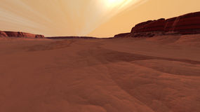 Mars Drifted Sands and Tumbled Cliffsides Stock Photos