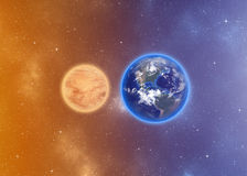 Mars and Earth Illustration Royalty Free Stock Photo