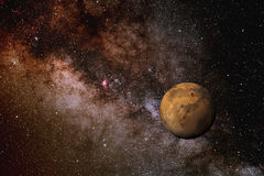 Mars en de Melkweg Stock Afbeelding