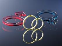 Mars et Venus Wedding Rings, rendu 3D Images stock