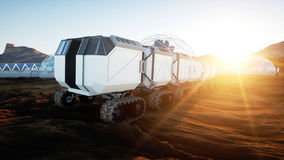 Mars expedition transport, mars rover. Base on alien planet. 3d rendering. Royalty Free Stock Photos