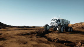 Mars expedition transport, mars rover. Base on alien planet. 3d rendering. Stock Photos