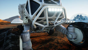 Mars expedition transport, mars rover. Base on alien planet. 3d rendering. Stock Image